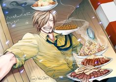Pixiv Id 539848, ONE PIECE, Sanji, Mouth Hold, Side Bangs, Sausage