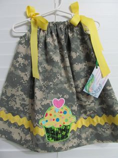 ACU pillowcase dress with appliqué cupcake  sz 12 by DarLynDesigns, $27.99
