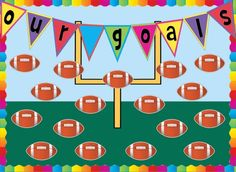 Sports Themed Motivational and Writing Bulletin Board Idea Football Bulletin Boards, Writing Bulletin Boards, Classroom Bulletin Boards, Classroom Ideas, Football Themes, Fall Football, Football Season, Football Decor, Football Field