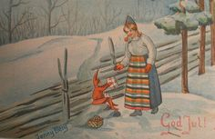 Nordic Thoughts: Vintage Christmas postcard by Jenny Berg