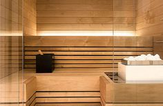 Sauna, likes the lighting and subtle feeling of interior Spa Design, House Design, Sauna Steam Room, Sauna Room, Spa Interior, Interior Lighting, Mini Sauna, Inflatable Hot Tub Reviews, Sauna Lights