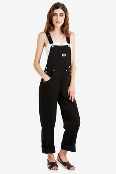 90s DEADSTOCK Baggy Overall Pants  Black FREE by EchoClubHouse