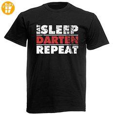 T-Shirt Farbe: Schwarz, Motiv: Eat Sleep Darten Repeat - Shirts mit spruch (*Partner-Link)