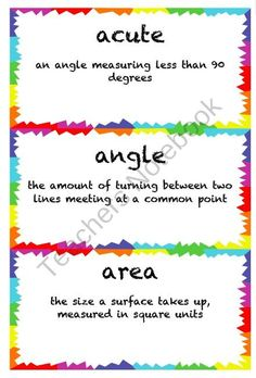 4th Grade Math Common Core Vocabulary Word Cards product from From-the-Mind-of-a-SPED-T on TeachersNotebook.com