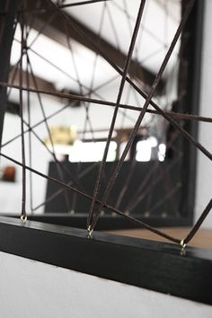 Close up of room divider made with leather string. Pic trendenser.se