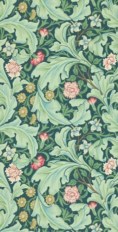 Lovely Arts And Crafts / Art Nouveau Style Printed Decorative Tile William Morris -taken from an original wallpaper design William Morris Wallpaper, William Morris Art, Morris Wallpapers, Green Wallpaper, Trendy Wallpaper, Pattern Wallpaper, Wallpaper Backgrounds, Vintage Wallpaper Patterns, Wallpaper Designs
