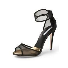 Diane von Furstenberg - Rae Mesh Sandal In Black Mesh/ Black Suede Women's Shoes, Me Too Shoes, Shoe Boots, Crazy Shoes, Diane Von Furstenberg, Open Toe Shoes, It Goes On, Designer Heels, Spring Shoes