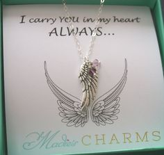 Miscarriage Gift, Miscarriage Necklace, Angel Wing Birthstone Necklace, Mommy's Angels, Grandma's Angels, Carry you in my heart, Remembrance