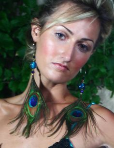 Large Peacock Feather Earrings
