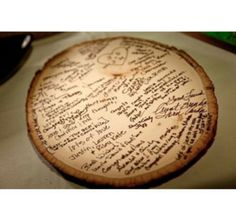 Cute country wedding idea, Everyone sign the wood
