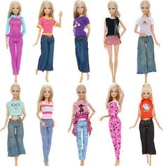 Doll Toy Gift Set 3 Daily Mini Dress Cool Outfits Summer Clothes for 12 in
