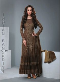 Authentic brown georgette based #anarkali with resham and lace work