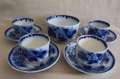 Flow Blue Copper Lustre Harvey Staffordshire Cups Saucers Waste Bowl | eBay