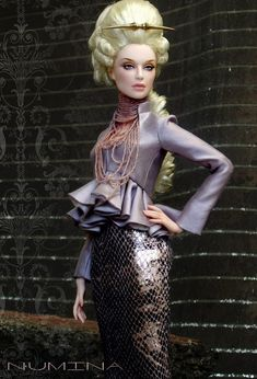 """OOAK commission: Pale skin """"Grey"""" sculpt in Numina jacket, wig by Ilaria, necklace by Leigh in Maine, skirt by Madeleine Rose Couture."""