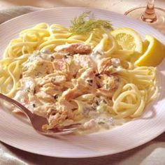 Linguine-with-smoked-salmon-cream-sauce--- Omit the salt when cooking the pasta if you are using the smoked salmon in this rich dish. The smoked salmon adds all the saltiness you need. Creamy Seafood Pasta, Seafood Pasta Dishes, Fish Dishes, Salmon Recipes, Fish Recipes, Seafood Recipes, Cooking Recipes, Pasta Recipes, Cooking Tips