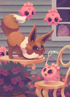 Eevee and Igglybuffs by Pombei