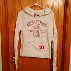 A&F Hoodie A&F hoodie. Cream color. No stains. Fitted style. Size L Abercrombie & Fitch Tops Sweatshirts & Hoodies