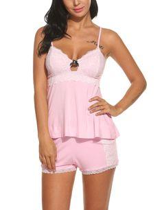 HOTOUCH Women's Lingerie Lace Sexy PJ Sleepwear Shorts Set Pink XL