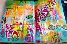 colorful art journal spread by Lydell Quin {Kasia's Letters stencil - The Crafters Workshop} Colorful Art, Letter Stencils, Art Journal Inspiration, Art Blog, Art, Art Journal, Book Art, Printmaking Art, Altered Art