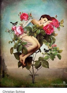 """In Bloom"" Digital Art by Christian Schloe posters, art prints, canvas prints, greeting cards or gallery prints. Find more Digital Art art prints and posters in the ARTFLAKES shop. Art And Illustration, Illustrator, Girls With Flowers, Arte Pop, Pop Surrealism, Fine Art, Art Plastique, Surreal Art, Oeuvre D'art"