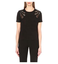 MAJE Trident Embroidered Linen T-Shirt. #maje #cloth #tops