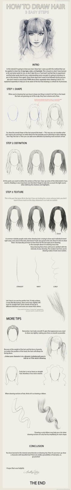 Let's learn how to draw hair step by step image guides . You not only need to concentrate on the details but also work at adding depth to the drawing.