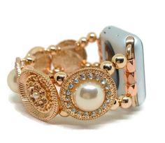 Rose Gold Sparkle Apple Watch Bracelet Band 38/42mm by TrendyTechShop on Etsy https://www.etsy.com/listing/534077175/rose-gold-sparkle-apple-watch-bracelet