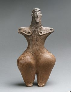 Statuette of a female Period: Iron Age II Date: ca. early 1st millennium B.C. Geography: Northwestern Iran, Caspian region. Medium: Ceramic Dimensions: H. 31.3 cm Classification: Ceramics-Sculpture Credit Line: Harris Brisbane Dick Fund, 1964