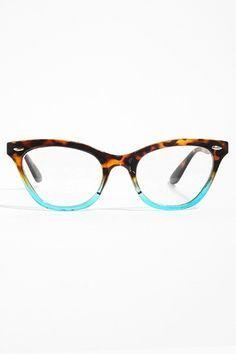 dab45ebbc7  Emma  Gradient Frame Cat Eye Clear Glasses - Tortoise Teal - 1029-