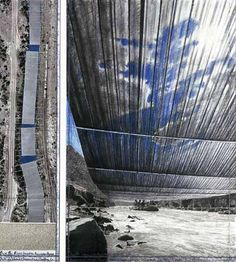 Christo and Jeanne-Claude Over The River Project. for the arkansas river. I cannot wait for this installation to go up. it will be amazing!