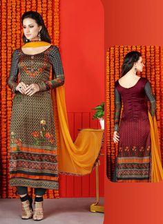 Multi Colour Satin Salwar Suit