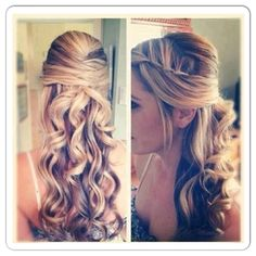 Fancy curled half up half down hair love the back but not the twisted bang