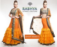 Style Code: RUJ471 - Orange and yellow frill wrapround Lehenga saree. Blue and green blouse embalished with hand work. Orange dupatta with four side border.