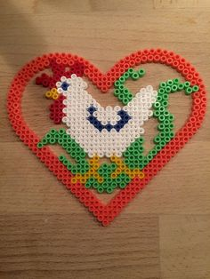 Chicken heart hama perler beads by Julie Loose