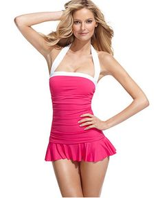 Lauren by Ralph Lauren Swimsuit, Halter Ruched Tummy Control Swimdress - Womens Swim - Macy's    this seems to be the winner so far, going to try it on this weekend to see $119