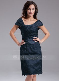 Sheath/Column Off-the-Shoulder Knee-Length Charmeuse Mother of the Bride Dress With Ruffle Beading Sequins (008006389)