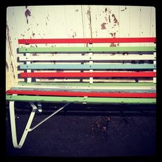 Candy coloured park bench at Cockatoo Island, Sydney, Australia #spring #chairs