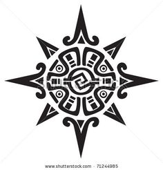 Mayan or Incan symbol of a sun or star, isolated on white. Great for tattoo or artwork - stock vector