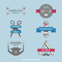 Pack of six logos for barber shop Free Vector
