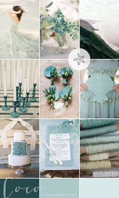 In today& coastal wedding inspiration we& being enveloped by washes of foam green and striking sea glass aqua. Come on, dive in pretties! Wedding Venues Uk, Wedding Themes, Our Wedding, Wedding Decorations, Green Wedding, Sea Wedding Theme, Table Wedding, Beach Wedding Colors, Seaside Wedding