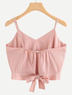 616ec19f5f30f Pearl Beaded Split Tie Back Crop Cami Top -SheIn(Sheinside) Cropped Cami