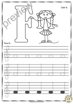 Piano Lessons For Kids Tracing Music Notes Worksheets for kids {Treble Clef} - A set of 26 Music worksheets have been created to help your students learn to trace, copy, color and draw notes on the staff {Treble Pitch} {C first – A Second' octaves}. Music Lessons For Kids, Music For Kids, Music Theory Worksheets, Violin Lessons, Piano Teaching, Learning Piano, Treble Clef, Elementary Music, Music Classroom
