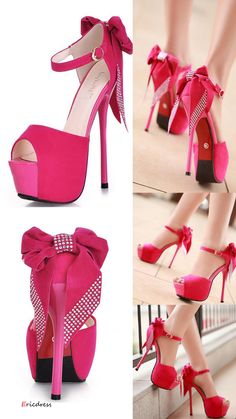 Sexy Red Fashion Night Club Style Peep Toe Stiletto Heels High Platform Prom Shoes With Bownot.