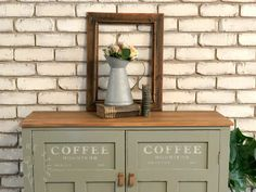 Do you ever paint a piece, use it in your house for a while, then decide it's time for another makeover to either keep or on-sell?This is about the makeover… Painting Kitchen Cabinets, Diy Cabinets, Coffee Stencils, Brick Paneling, Faux Shiplap, Diy Mirror, Cabinet Makeover, Furniture Makeover, Diy Furniture