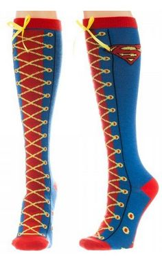 Superman Faux Lace-Up Knee High Socks: The Superman Faux Lace-Up Knee High Socks are a great one size fits most pair of socks based on the refugees from Krypton, the House of El! You probably know them as Superman and Supergirl. Batman Superman Wonder Woman, Supergirl Superman, Superman Comic, Superman Logo, Vetements Shoes, Nananana Batman, Up Costumes, Leggings, Knee High Socks