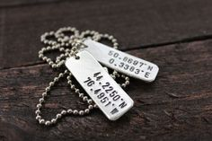 Where We First Met Coordinates Double Slim Dog Tags - Longitude and Latitude - By Rustic Brand on Etsy, $27.00