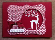 """""""Dasher"""" Christmas Card using Top Note die. Like the hold punched in the Top Note!"""