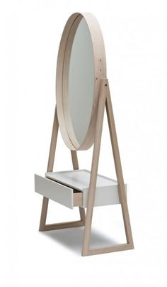 The Iona Cheval mirror is a full-length elliptical mirror framed in solid oak with a shaker-style joint and brass rivet detail at one side. The solid oak A-frame is finished in a matt white oil, allows the mirror to pivot, and supports an off-white lacque Classic Wall Mirrors, Rustic Wall Mirrors, Home Furniture, Furniture Design, Dressing Mirror, Dressing Table, Dressing Area, Living Room Mirrors, Mirror Bedroom
