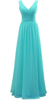 Vivebridal Long V-Neck Chiffon Bridesmaid Dress Ruched Party Dress Lace Up Dress Turquoise us16