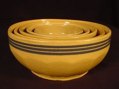 RARE Graduated Set of 5 Bowls with Blue Bands Yellow Ware